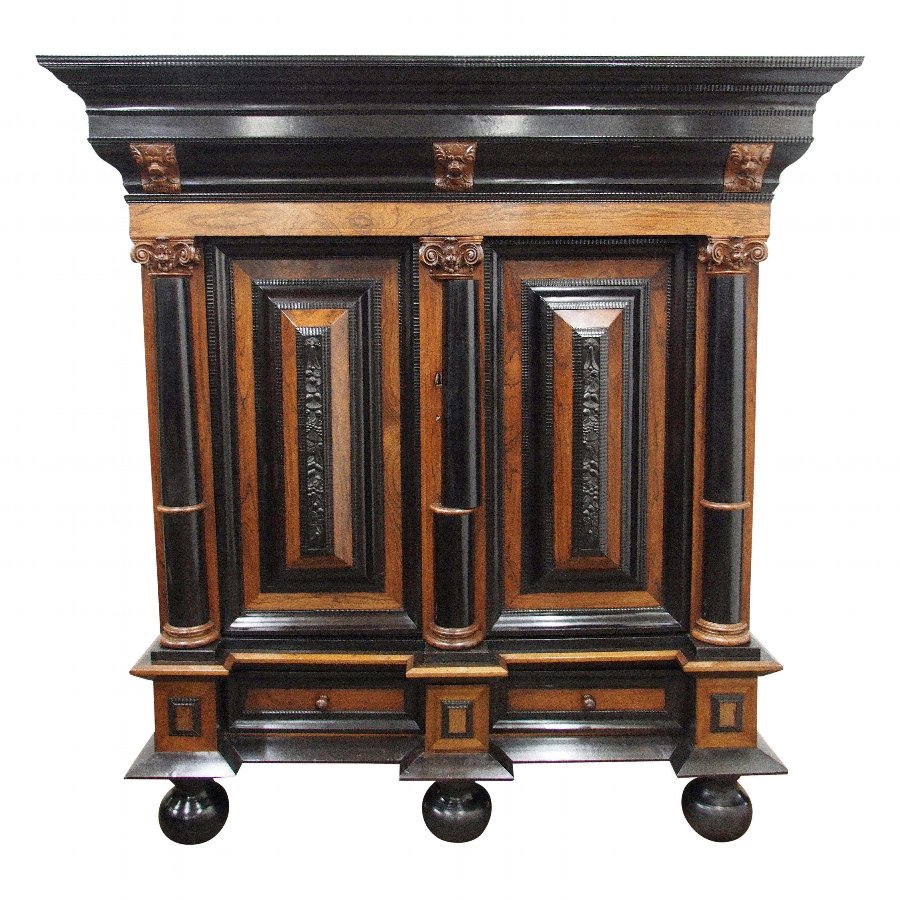 Indo-Dutch Rosewood and Ebony Cabinet