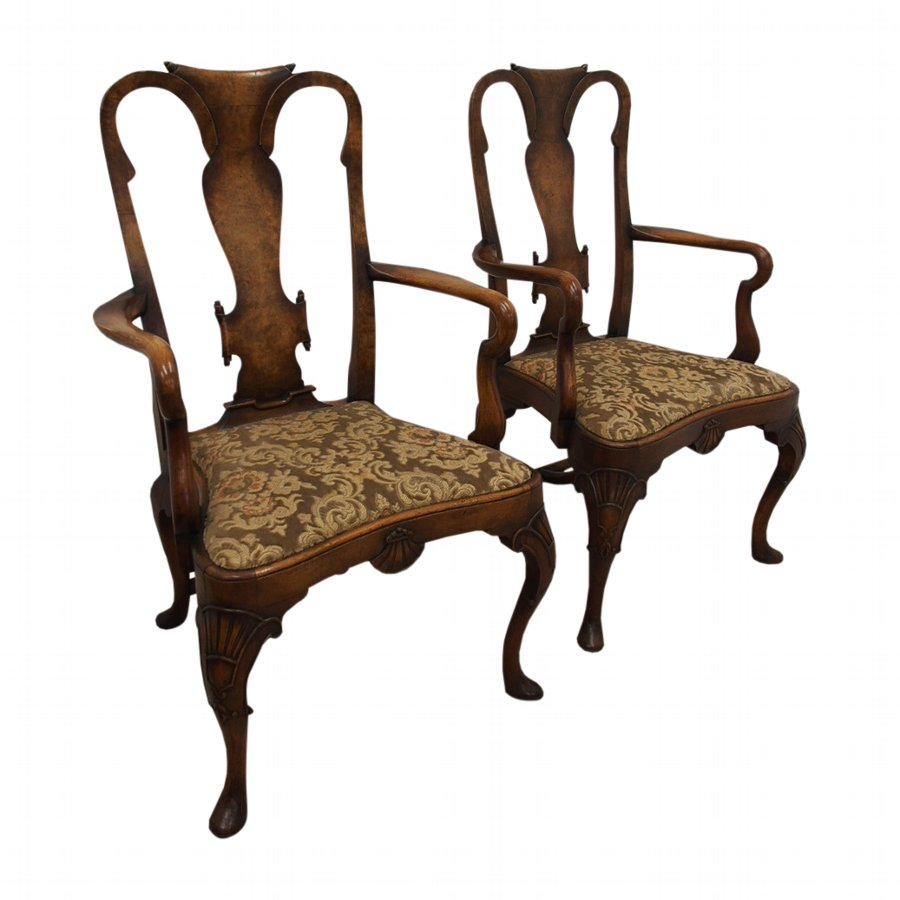 Pair of Walnut and Burr Walnut Armchairs