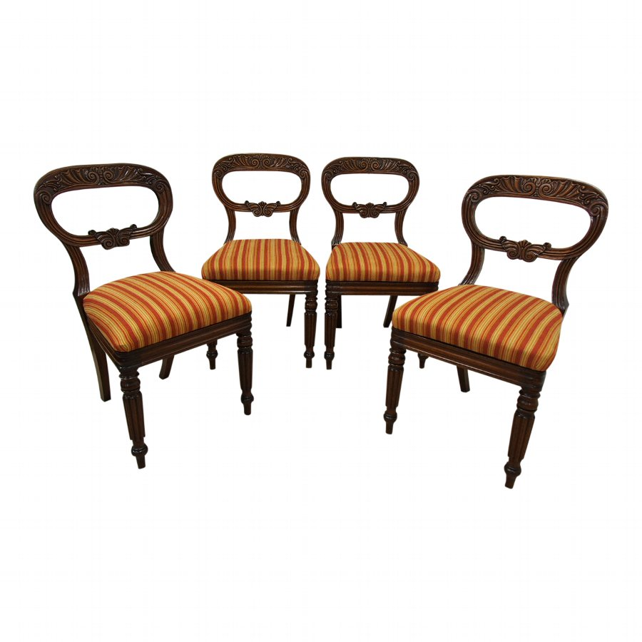 Set of 4 William IV Mahogany Dining Chairs
