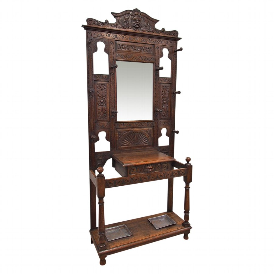 Jacobean Revival Oak Hall Stand