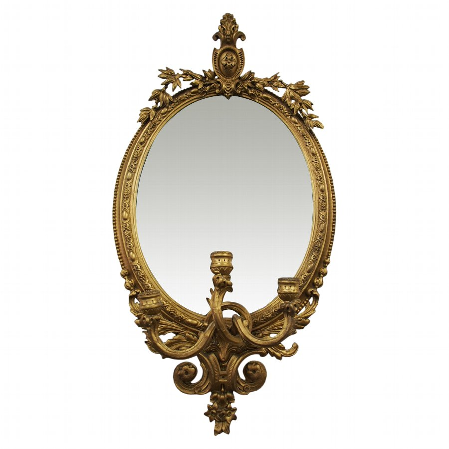 Giltwood and Gilded Gesso Girandole Mirror