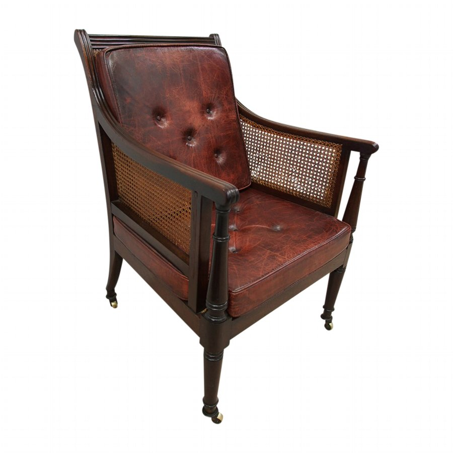 Scottish Regency Mahogany Bergere or Library Chair