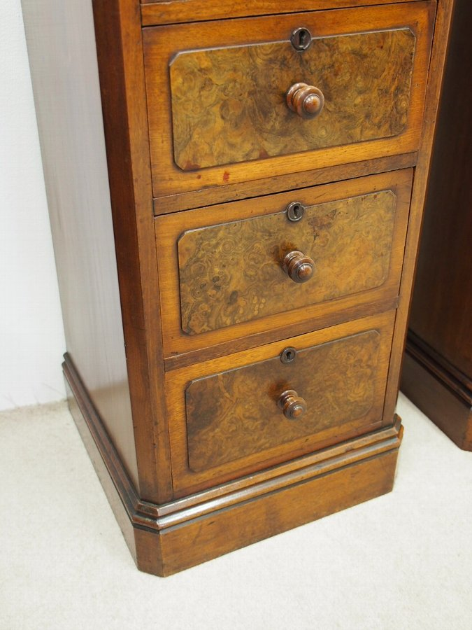 Antique Pair of Burr Walnut Military Chest of Drawers or Bedsides