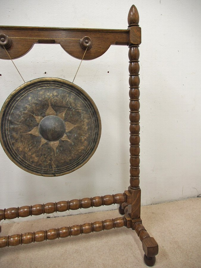 Antique Late Victorian Oak Gong