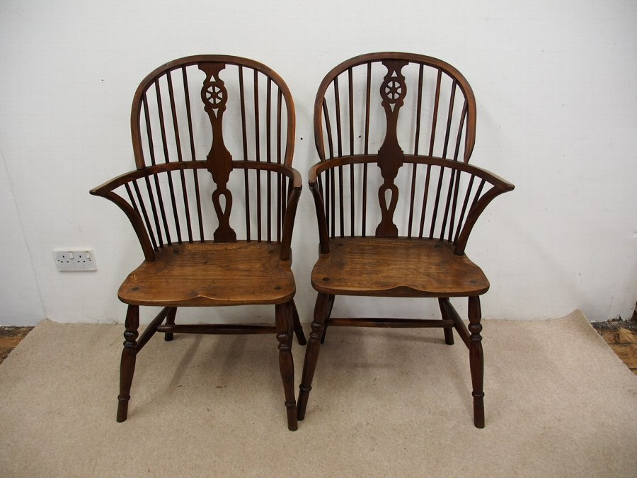Pair of Ash and Yew Windsor Chairs