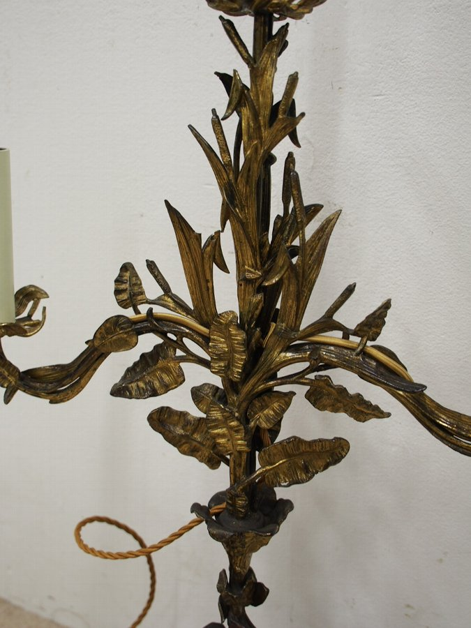 Antique Bronze and Brass Gilded Table Lamp