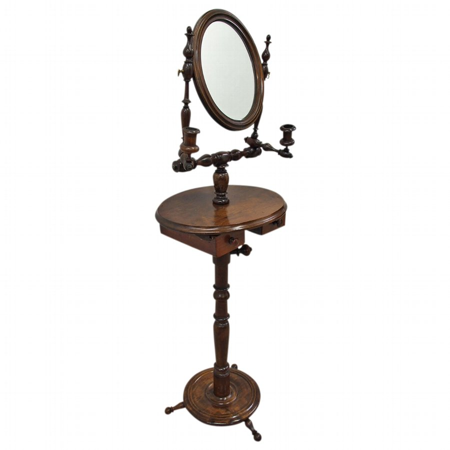 Unusual Adjustable Beech Dressing Mirror or Shaving Stand