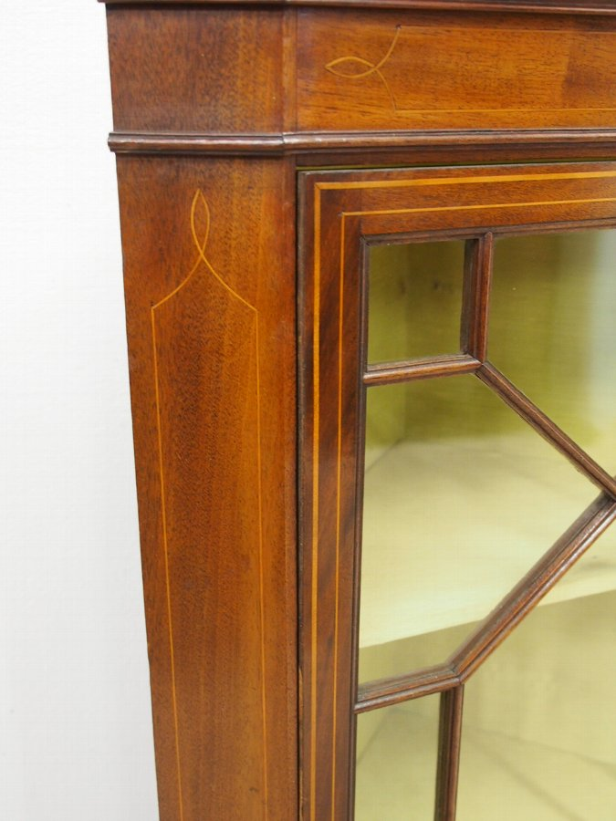 Antique George II Style Inlaid Mahogany Corner Cabinet