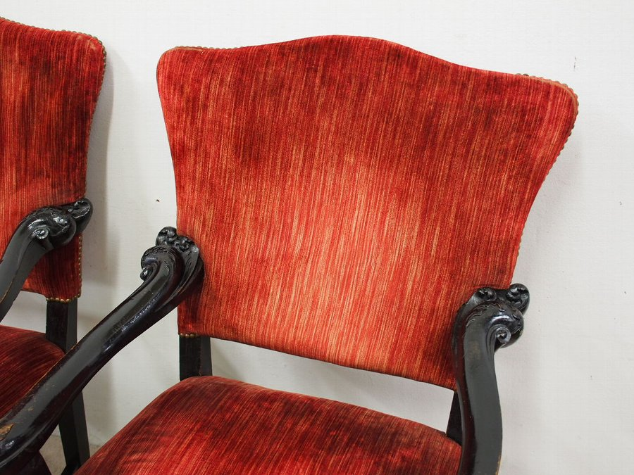 Antique Pair of Italian Ebonised Armchairs