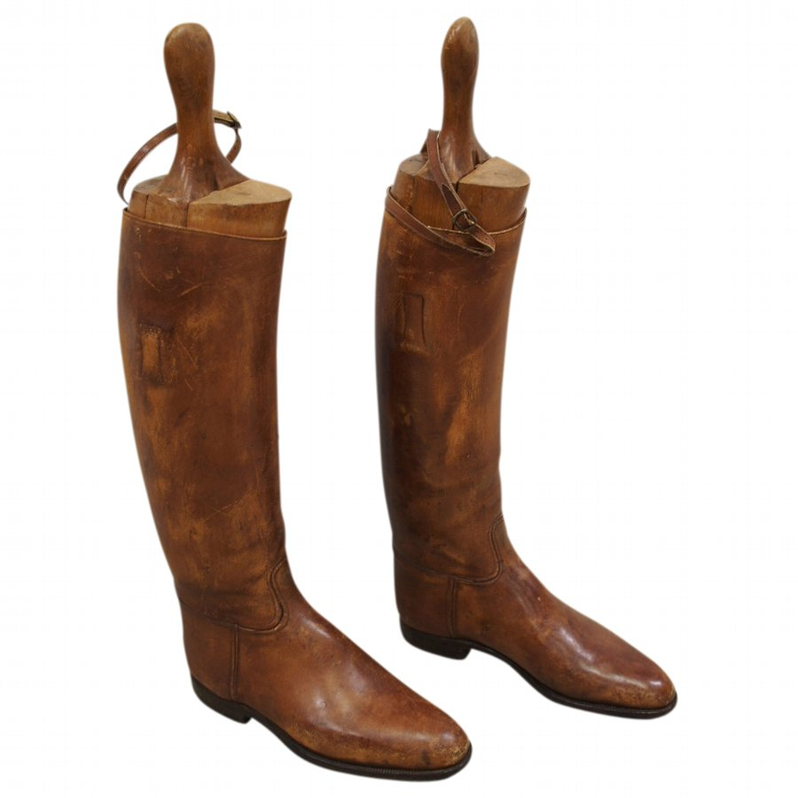 Pair of Tan Leather Riding Boots with Beech Shoe Trees