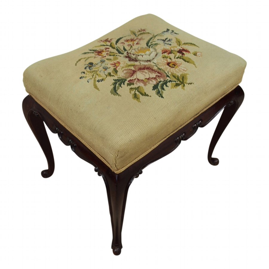 Mahogany Stool with Hand Embroidered Top