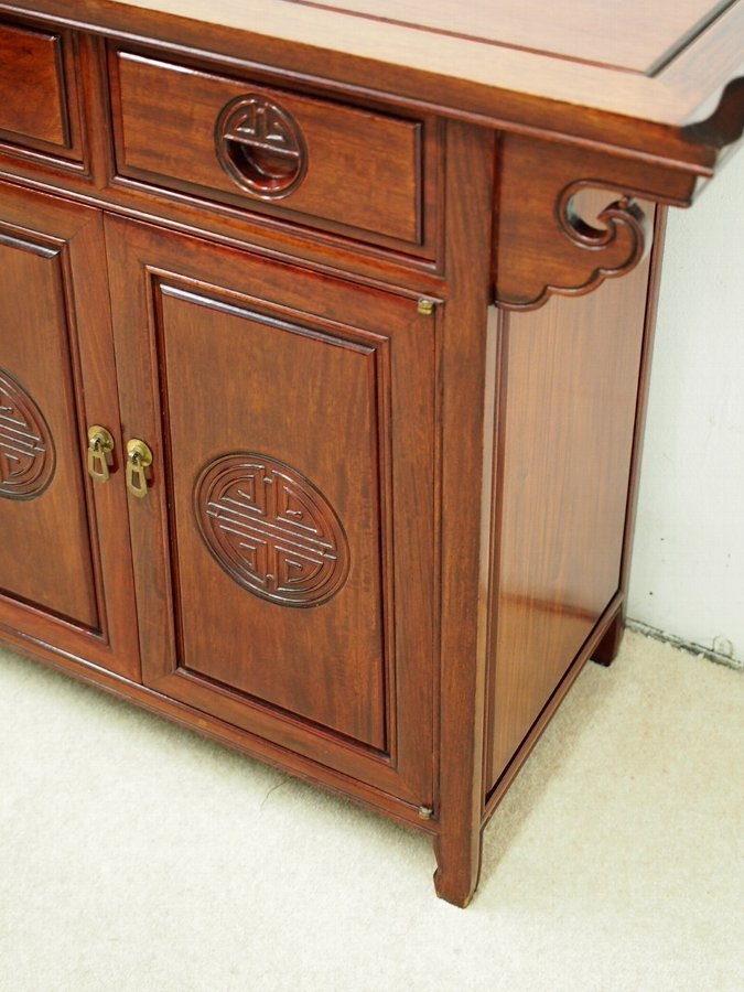 Antique Carved Hardwood Chinese Cabinet