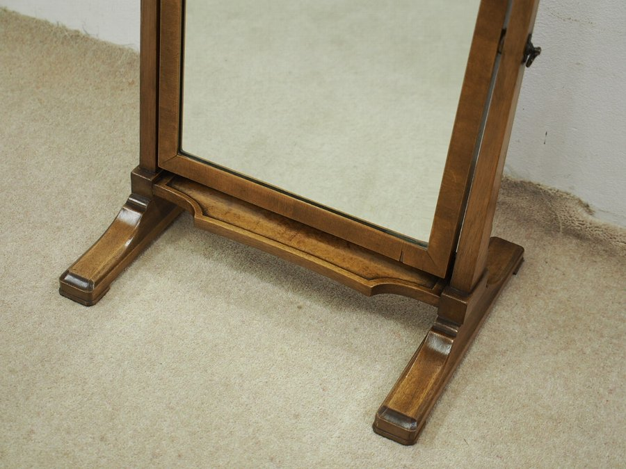 Antique Rare Whytock and Reid Walnut Shaped Dressing Mirror