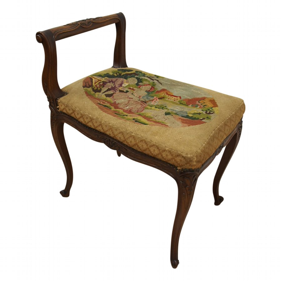 French Carved Walnut Stool or Window Seat
