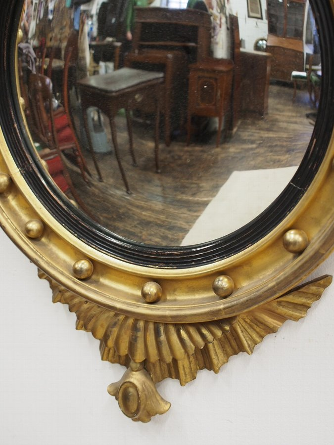 Antique Regency Style Carved Giltwood Convex Mirror