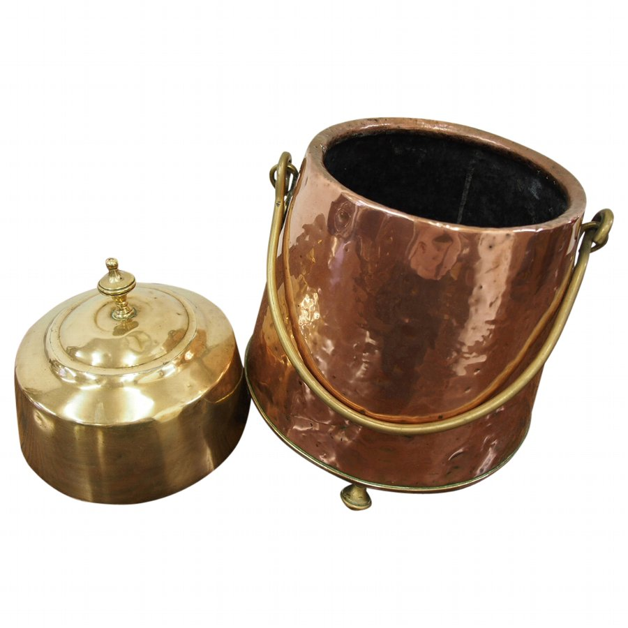 Dutch Copper and Brass Pail or Bucket