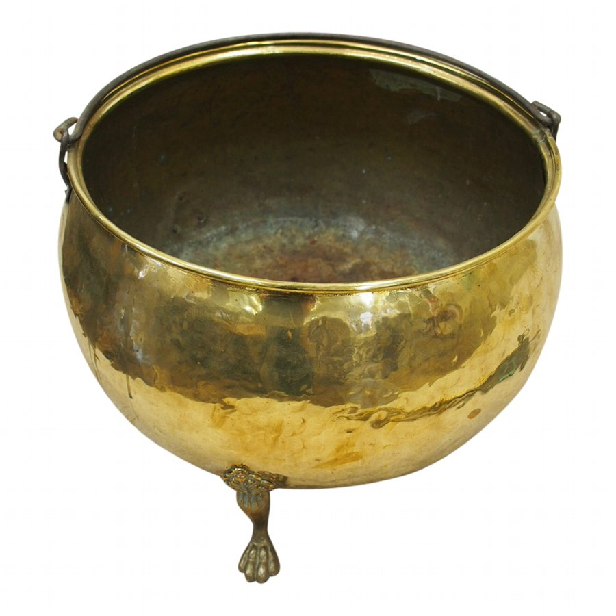 Large Brass Circular Log Bin or Cauldron