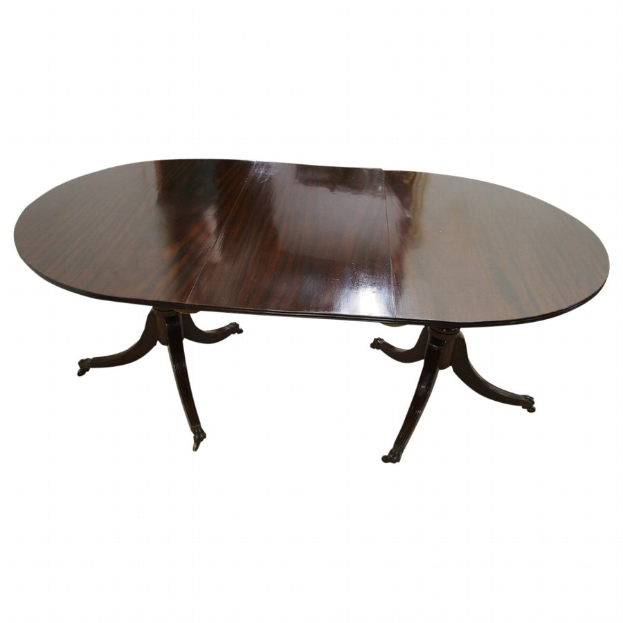 Regency Style Twin Pillar Dining Table with 1 Leaf