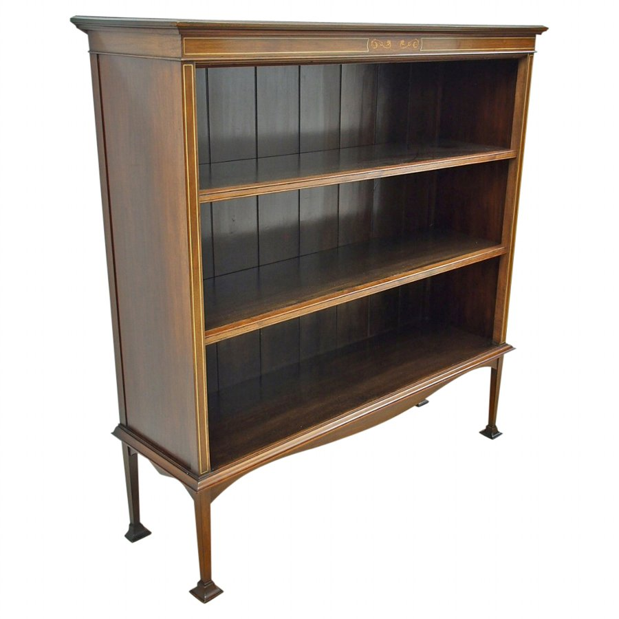 Art Nouveau Style Inlaid Mahogany Open Bookcase