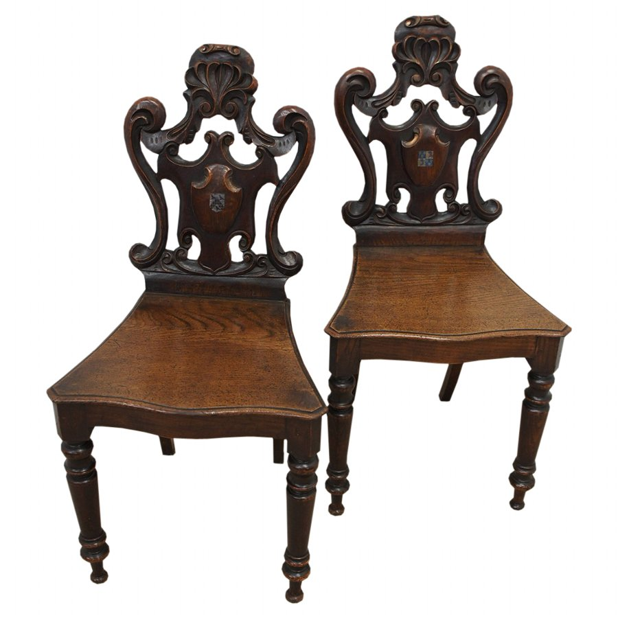 Pair of Victorian Carved Oak Hall Chairs