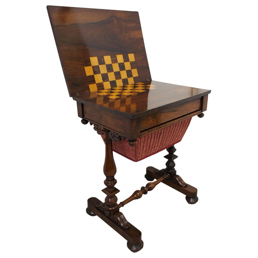 William IV Rosewood Work and Games Table