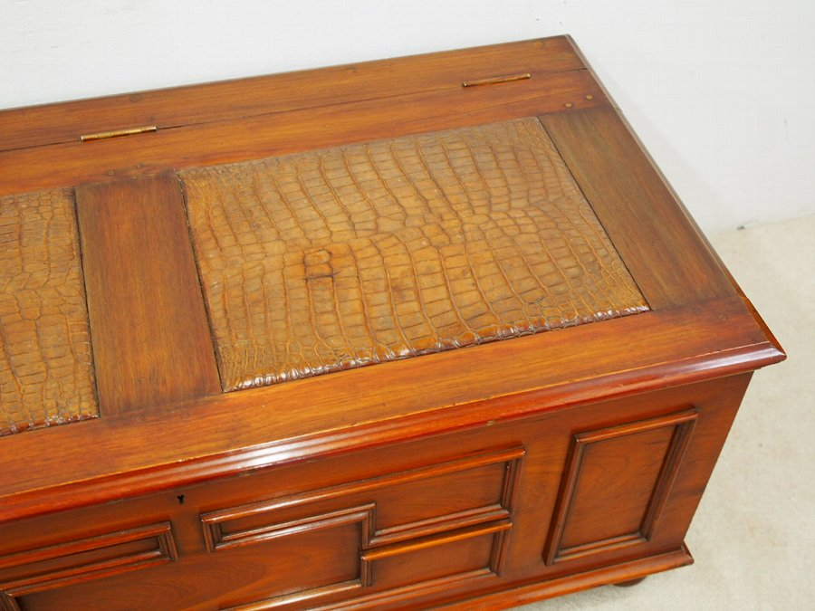 Antique  Teak Trunk with Crocodile Skin Panels