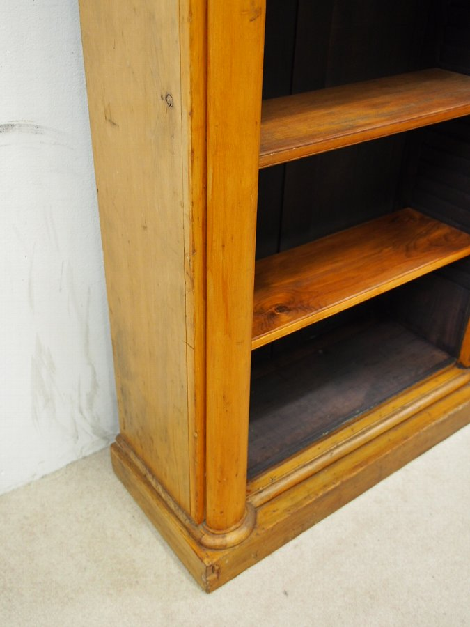 Antique Empire Style Tall Pine Open Bookcase