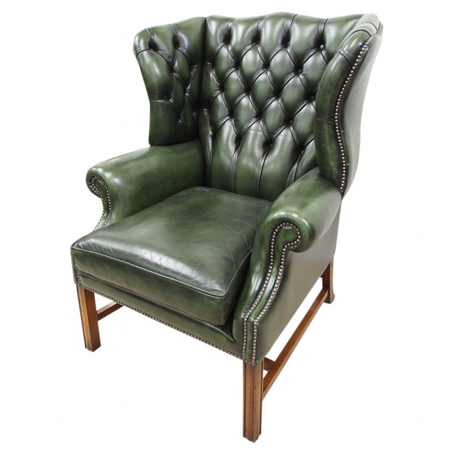 Admirable George Iii Style Green Leather Wing Chair Camellatalisay Diy Chair Ideas Camellatalisaycom