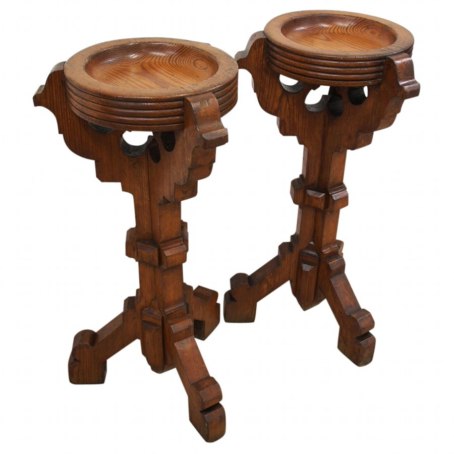 Pair of Gothic Style Pine Stands