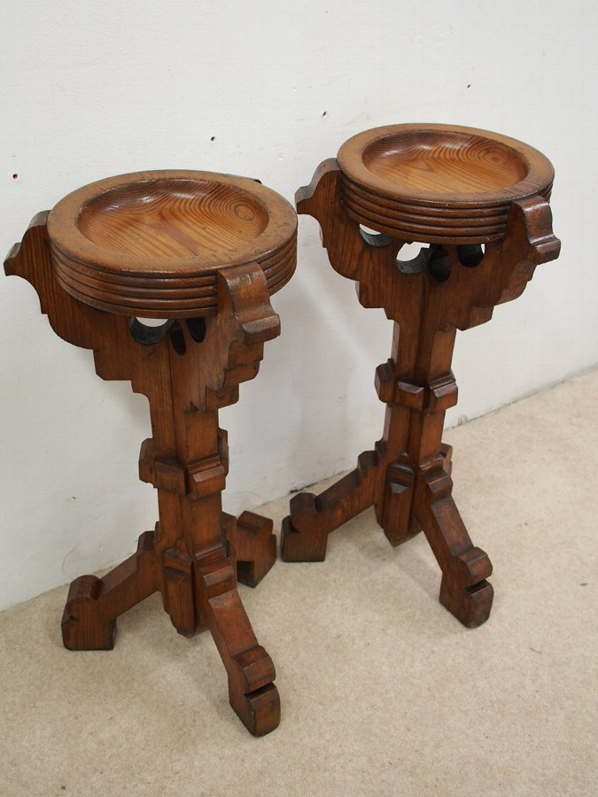 Antique Pair of Gothic Style Pine Stands