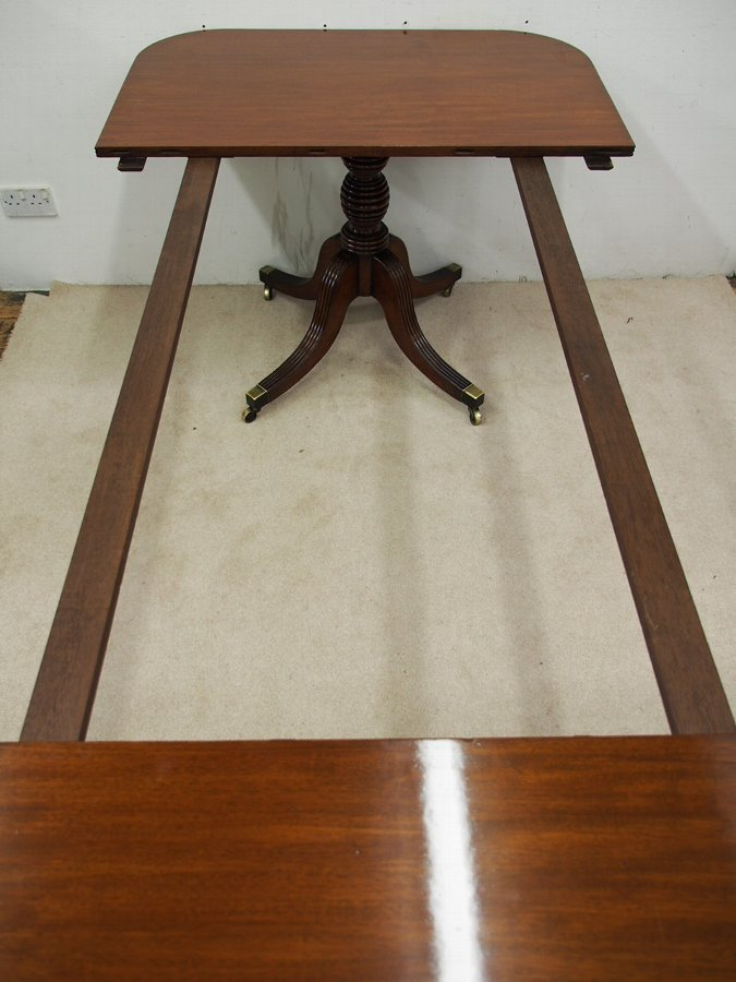 Antique George III Mahogany D-End Twin Pillar Dining Table