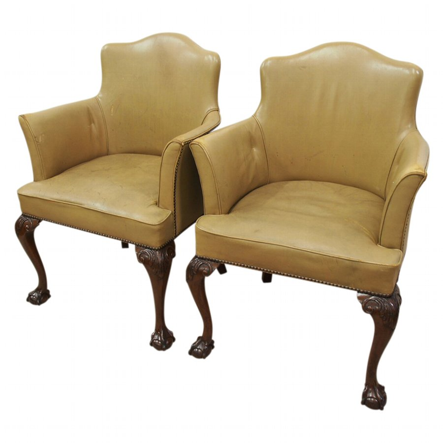 Pair of George III Style Leather Chairs