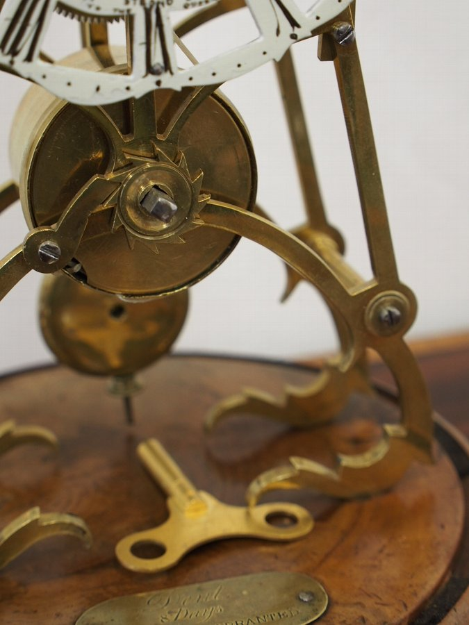 Antique Brass Skeleton Clock with Dome