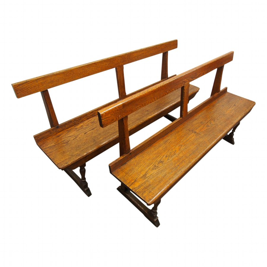 Neat Pair of Victorian Oak Benches