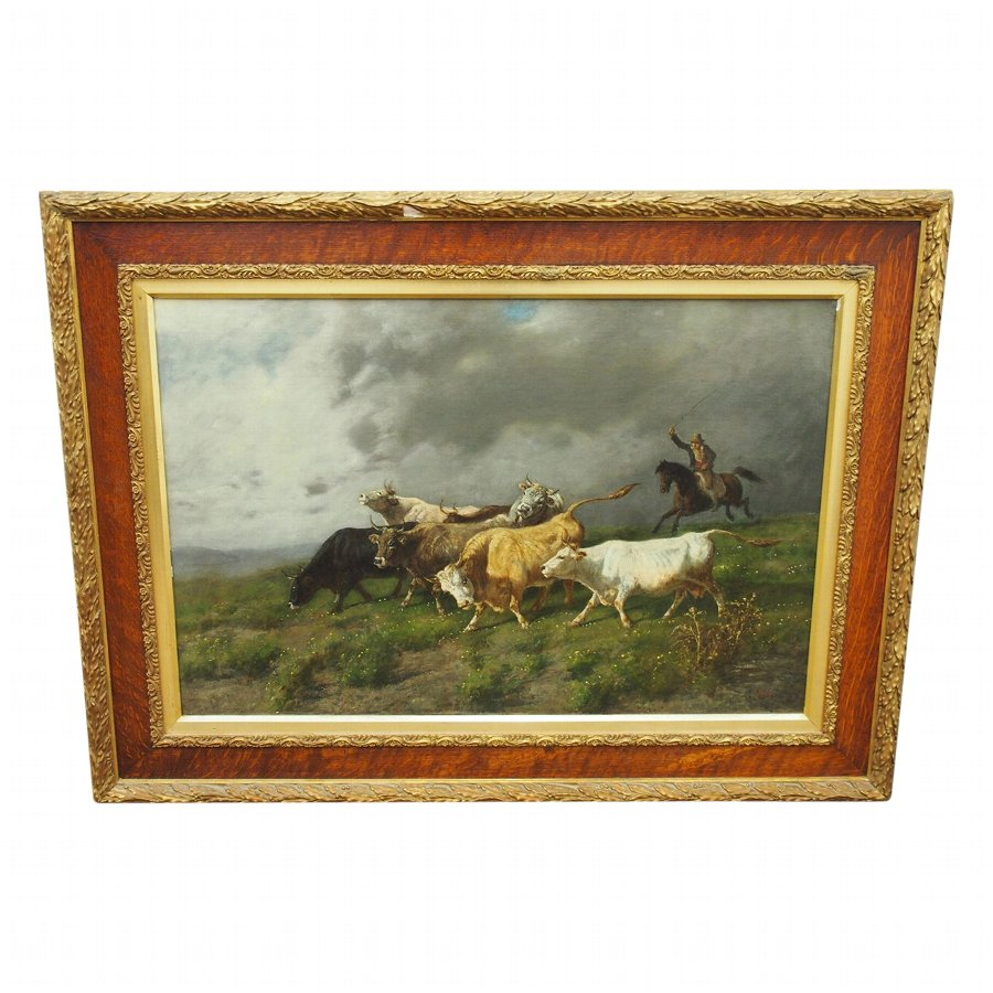 Oil Painting of Driving Cattle