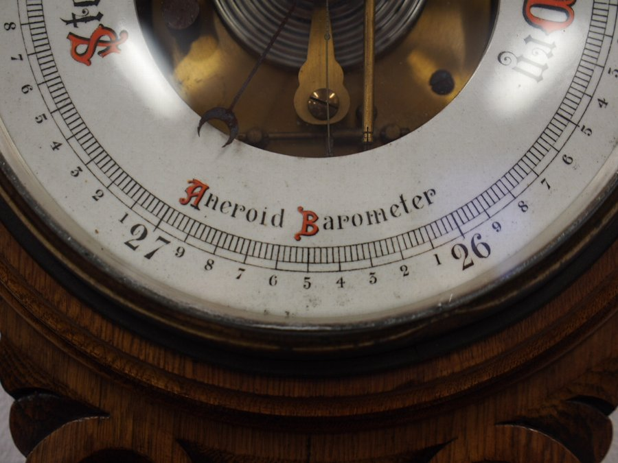Antique Carved Oak Aneroid Barometer and Thermometer