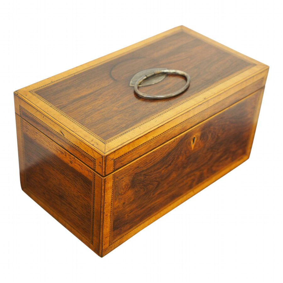 George III Chequer and Satinwood Inlaid Tea Caddy