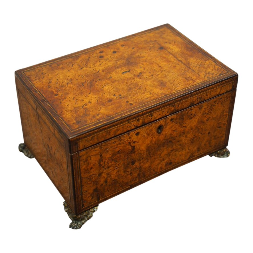 Georgian Burr Elm Tea Caddy