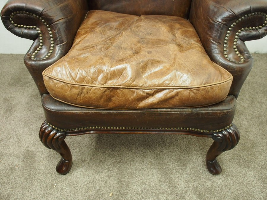Antique George III Style Wing Armchair