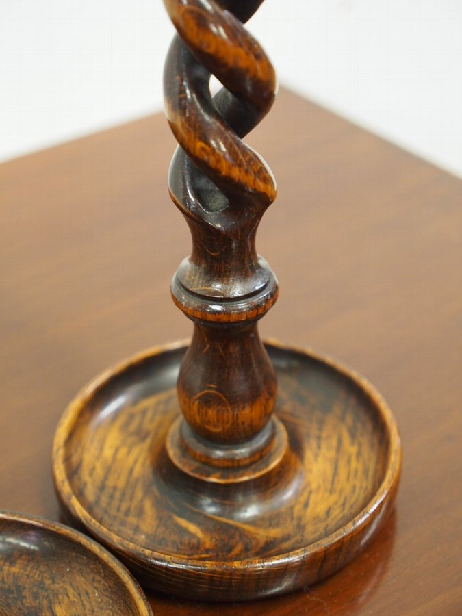Antique Pair of Oak and Barley Sugar Candle Sticks