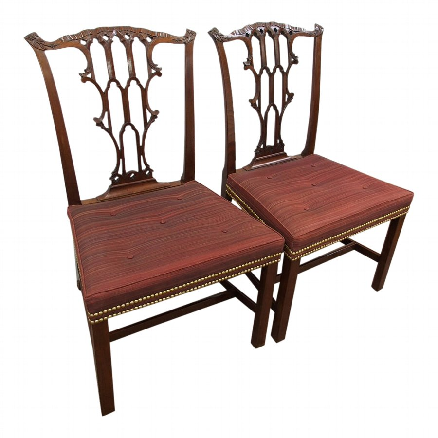 Pair of Chippendale Style Mahogany Dining Chairs
