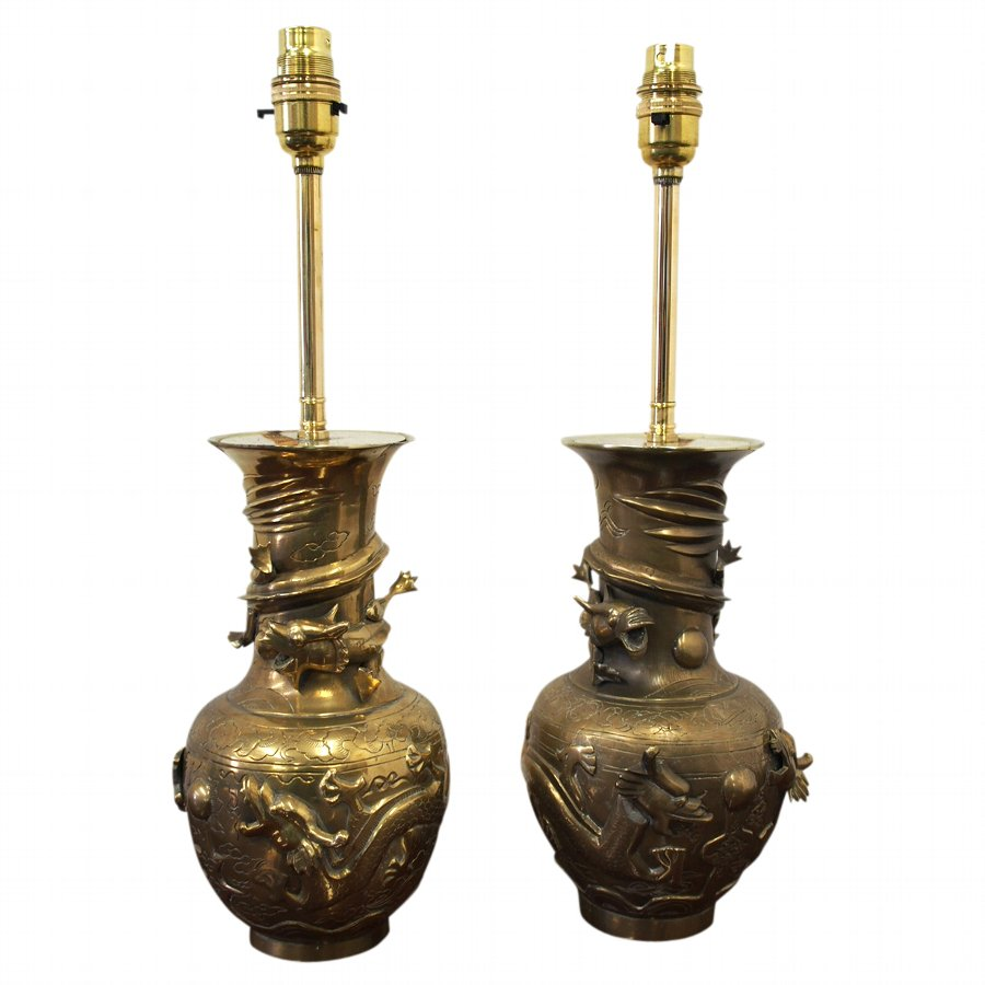 Pair of Chinese Bronze Lamps