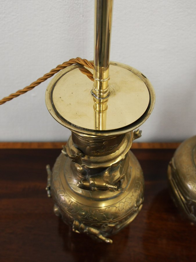 Antique Pair of Chinese Bronze Lamps