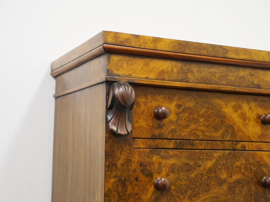 Antique Tall Victorian Style Burr Walnut Wellington Chest