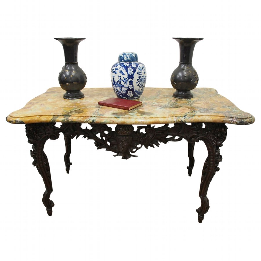 Unusual French Marble Top Console Table