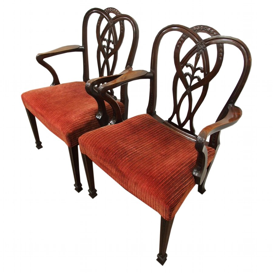 Pair of George III Style Mahogany Arm Chairs