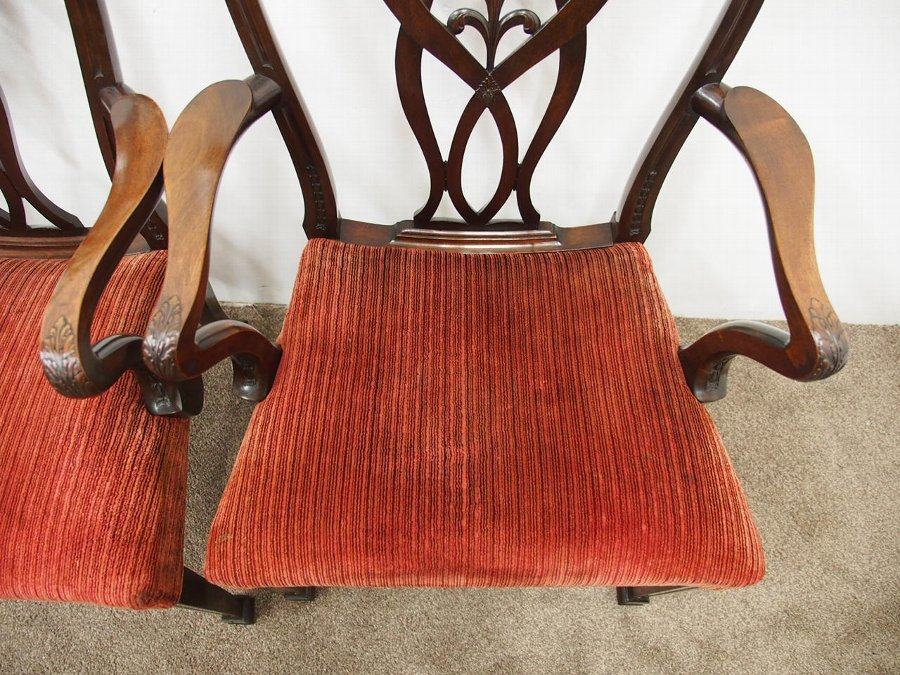 Antique Pair of George III Style Mahogany Arm Chairs