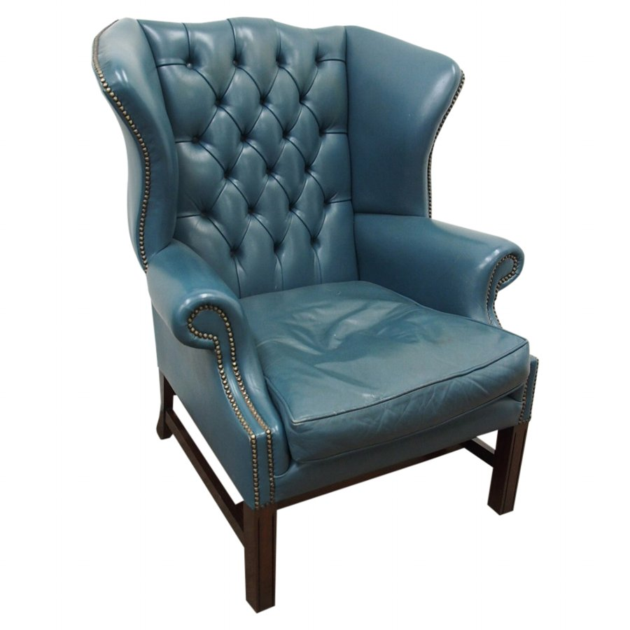 Georgian Style Blue Wing Chair