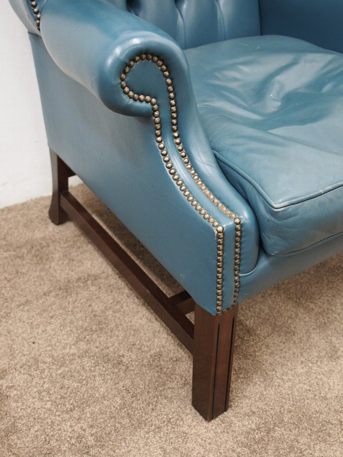 Antique Georgian Style Blue Wing Chair