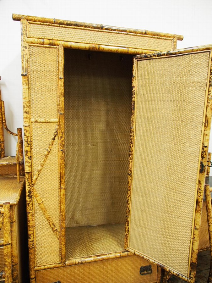 Antique 5 Piece Bamboo and Rattan Bedroom Suite